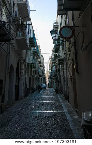 Touristic And Vacation Pearl Of Sicily, Small Town Of Cefalu, Sicily, South Italy, Street View, Suns