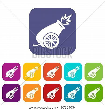 Circus cannon icons set vector illustration in flat style in colors red, blue, green, and other