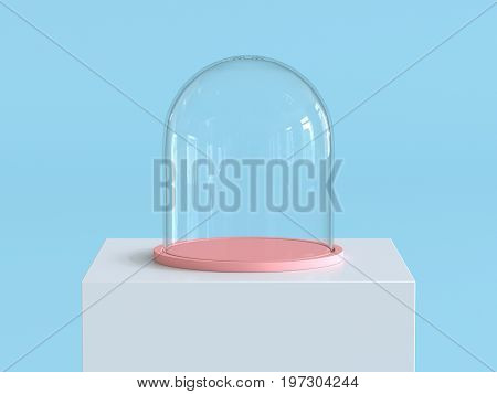 Empty glass dome with pastel pink tray on white  podium with pastel blue background. Kids theme. 3D rendering.