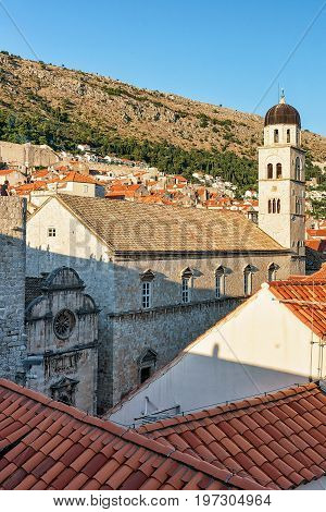 Franciscan Monastery Belfry Viewed From Dubrovnik Town Walls In  Croatia