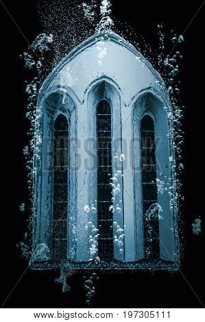 Window from a chapel sinking to the bottom of the ocean