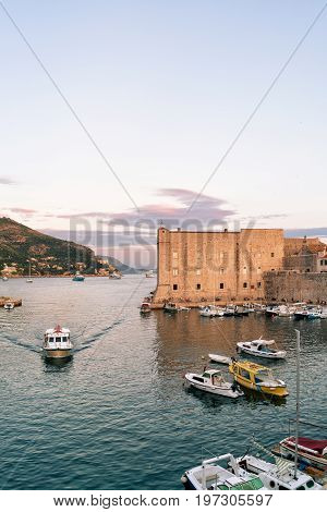 Evening At Saint John Fort And Sailing Boats Dubrovnik Croatia