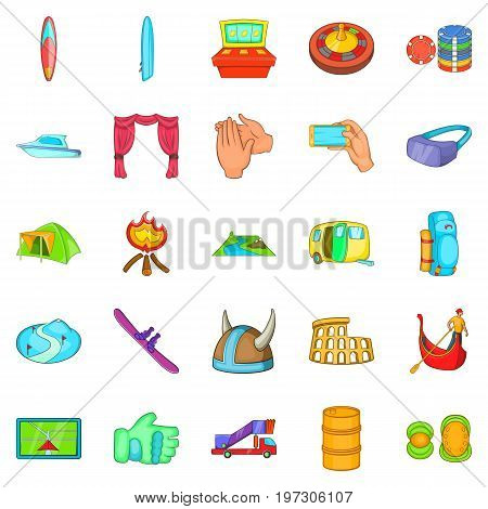 Cultural rest icons set. Cartoon set of 25 cultural rest icons for web isolated on white background