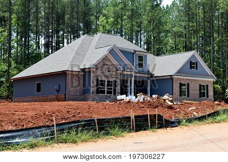 BOGART, GEORGIA, USA - JULY 24,2017: Residential construction is one of the fastest growing industries in the U.S. The state of Georgia is part of this boom.