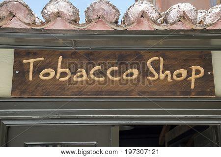 Tobacco Shop, Wooden Sign