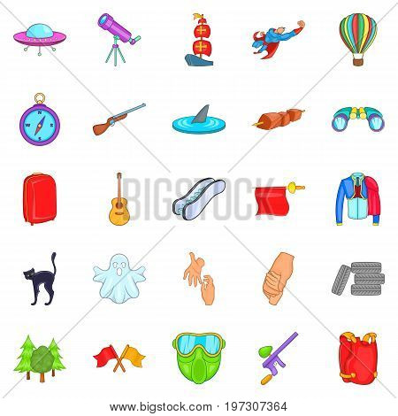 Mysterious things icons set. Cartoon set of 25 mysterious things icons for web isolated on white background