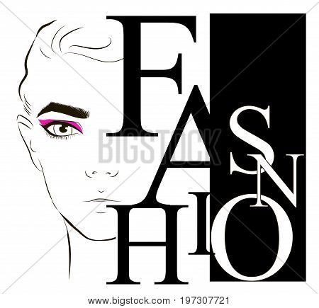Half A Young Woman Face. Fashion Label Whith Face Fashionable Young Woman Face With Pink Make-up. Fa