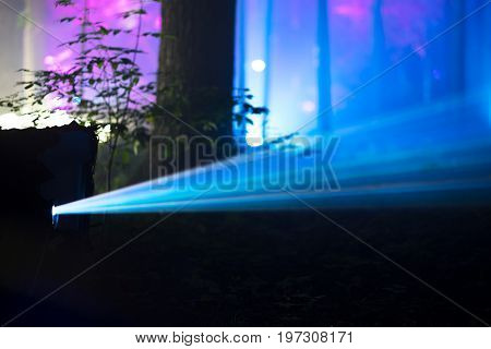 Movie floodlight ray of light bokeh background hd