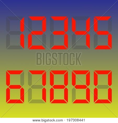 Red numbers - 1, 2, 3, 4, 5, 6, 7, 8, 9, 0. Mathematics , algebra . Dial , calculator . Vector illustration