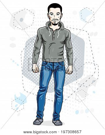 Handsome brunet young man standing. Vector illustration of man with beard and mustaches wearing stylish casual clothes.