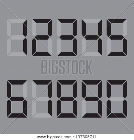 A lot of numbers of functional use . Red numbers - 1, 2, 3, 4, 5, 6, 7, 8, 9, 0 . Dial , calculator . China . Vector illustration .