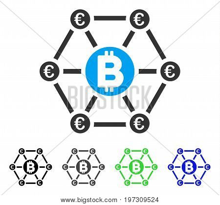 Bitcoin Euro Financial Network flat vector pictogram. Colored bitcoin euro financial network gray, black, blue, green icon variants. Flat icon style for application design.