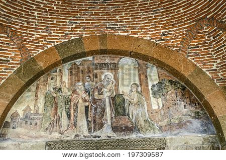 Fresco of the Birth of Christ in the temple of the Martyr Gayane in Echmiadzin