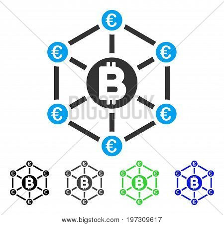 Bitcoin Euro Network flat vector icon. Colored bitcoin euro network gray, black, blue, green icon versions. Flat icon style for web design.