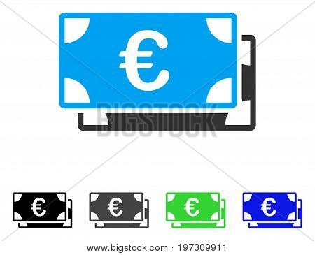 Euro Bills flat vector icon. Colored Euro bills gray, black, blue, green pictogram variants. Flat icon style for application design.