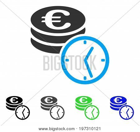 Euro Coins And Time flat vector illustration. Colored Euro coins and time gray, black, blue, green pictogram variants. Flat icon style for web design.