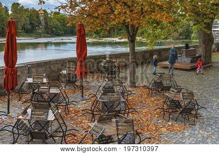 Landsberg am Lech, Germany - October 2016: autumn street cafe. Charm of the small town of Romantic road