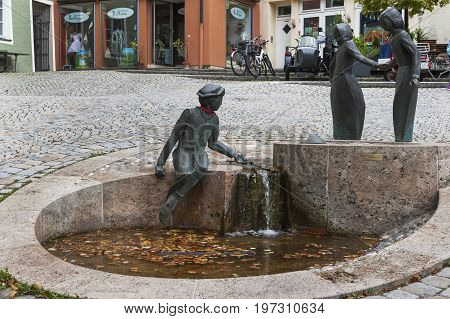 Landsberg am Lech, Germany - October 2016: town fountain. Charm of the small town of Romantic road