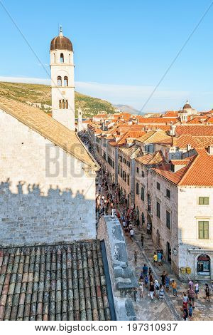 People At Franciscan Monastery On Stradun Street In Dubrovnik Croatia