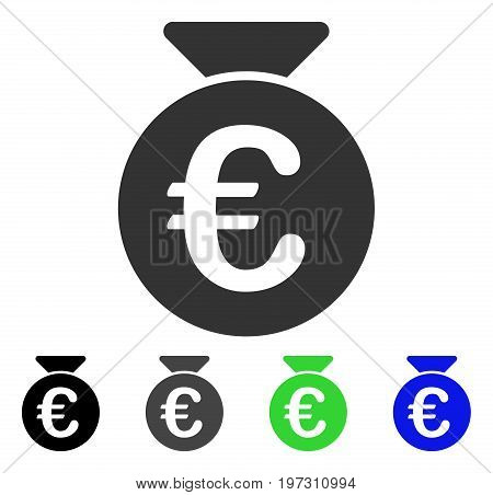 Euro Money Bag flat vector pictogram. Colored Euro money bag gray, black, blue, green icon versions. Flat icon style for graphic design.