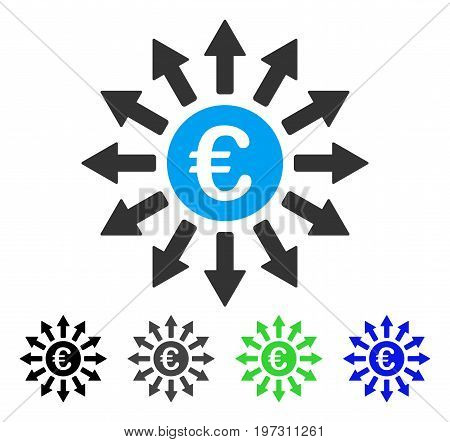 Euro Payments flat vector pictogram. Colored Euro payments gray, black, blue, green icon variants. Flat icon style for graphic design.