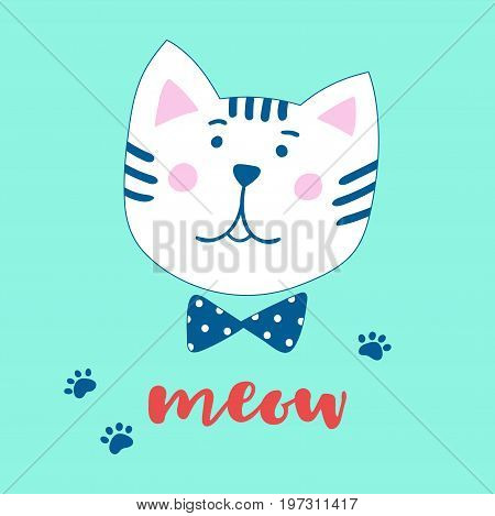 Lovely cartoon cat and inscription Meow. Vector illustration in a hand-drawn style. Suitable for greeting cards invitations posters prints on clothes.