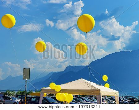 Air Ballons On Grande Place Square At Vevey