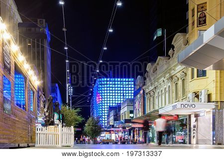 Adelaide City Australia - April 16 2017: Rundle Street U-Park building illuminated at night viewing towards East through Adelaide Rundle Mall