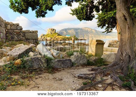 Ancient ruins and Kastri small island in Kos island Greece