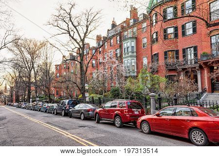 Road At Beacon Hill Neighborhood Downtown Boston In Ma America
