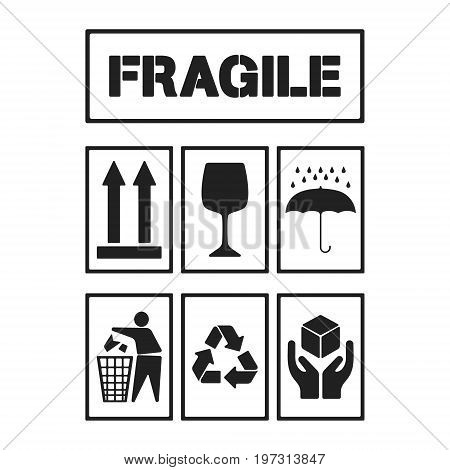 Black package handling labels isolated on white background. Fragile this side up glass keep dry keep clean recycling handle with care symbol. Vector illustration.