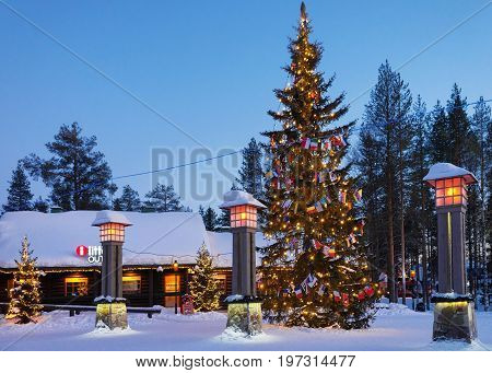 Arctic Circle Lanterns In Santa Village In Lapland Scandinavia