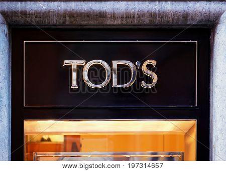 Tod Sign On Street Shop Window Rome