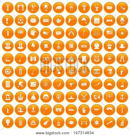 100 top hat icons set in orange circle isolated on white vector illustration