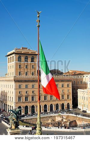 Italian National Flag And Piazza Venezia From Vittorio Emanuele Monument