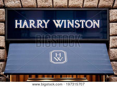 Harry Winston Sign On Street Shop Window Rome