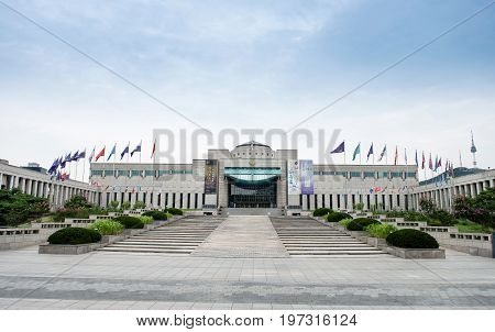 Seoul, South Korea - July 27, 2017 : The Architecture And Unidentified Tourists Are In The War Memor