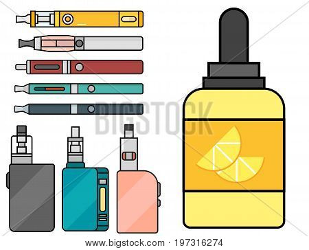 Vape device vector set cigarette vaporizer vapor juice vape bottle flavor illustration battery coil. Trend new culture electronic nicotine liquid. Smoking atomizer device e-liquid.