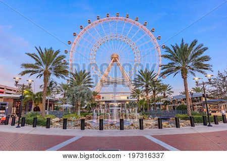 ORLANDO, FLORIDA, USA - JANUARY 05, 2016: The Orlando Eye on International Drive The orlando eye is a 400 feet tall ferris wheel in the heart of Orlando and the largest observation wheel on the east coast United States