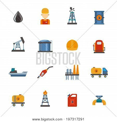 Mineral oil petroleum extraction, production, transportation factory logistic equipment vector icons illustration. Energy processing platform. Petroleum industry technology design.