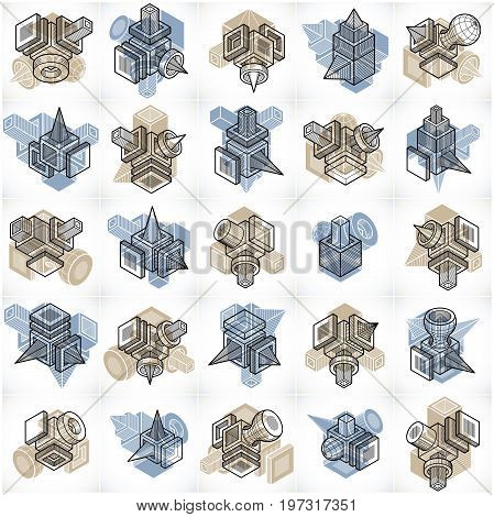 Abstract three dimensional shapes set vector designs.