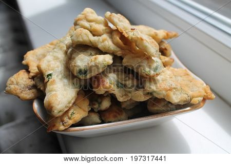 appetizing easy to cook snack from pastry and verdure lay on plate prepare for eat