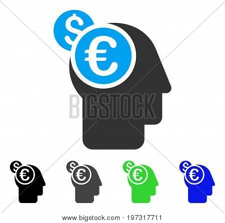 Banker flat vector pictograph. Colored banker gray, black, blue, green icon variants. Flat icon style for graphic design.