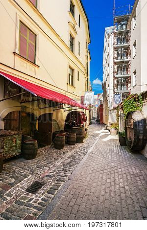Street Cafe In Historical Center Of Riga Baltic