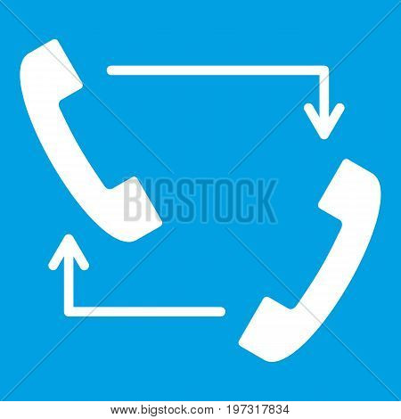 Handsets with arrows icon white isolated on blue background vector illustration