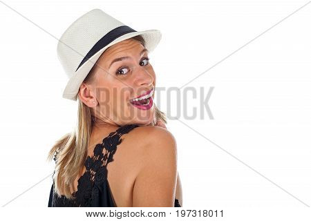 Picture of a sexy young woman smiling and having fun on isolated background
