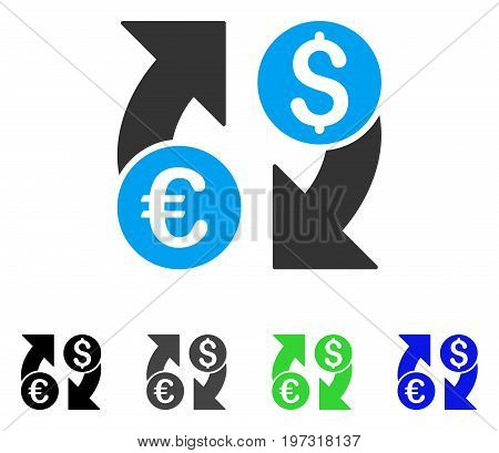 Currency Change flat vector icon. Colored currency change gray, black, blue, green pictogram versions. Flat icon style for web design.
