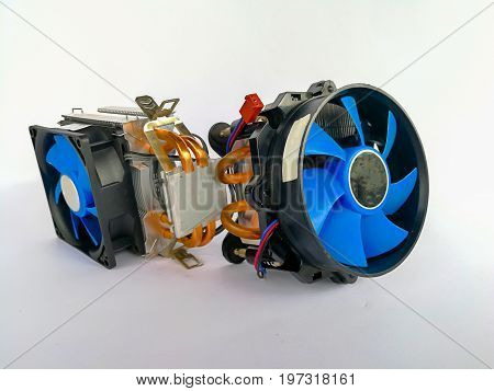 Electronic equipment computer processor blue fans close-up