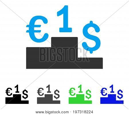 Currency Competition flat vector pictogram. Colored currency competition gray, black, blue, green icon variants. Flat icon style for graphic design.