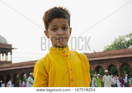 Jama Masjid, Old Delhi, India - 24 June 2017 : Portrait Of A Cute Indian Boy Who Came To Offer Praye